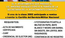 Se abre convocatoria para tramitar la cartilla del servicio militar clase 2002
