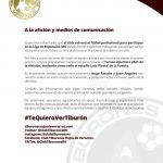 Comunicado de prensa para aficionados y medios de comunicación del Club Tiburones Rojos de Veracruz
